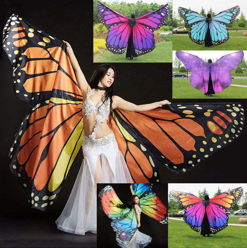 new 2018 butterfly belly dance costume 360 isis wings egyptian dance wear ebay. Black Bedroom Furniture Sets. Home Design Ideas