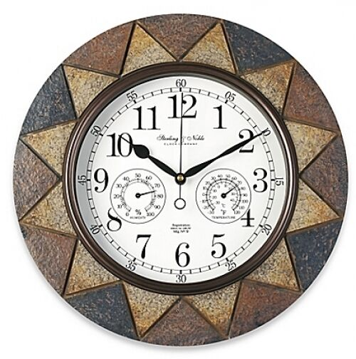 slate indoor outdoor wall clock with temperature and