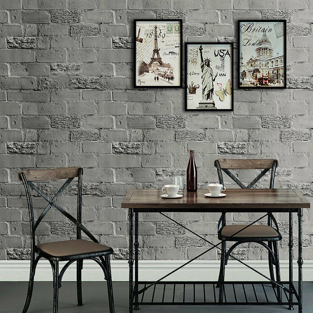 Peel And Stick Textured Wallpaper: Faux Brick Peel And Stick Wallpaper Dk.Grey Self Adhesive