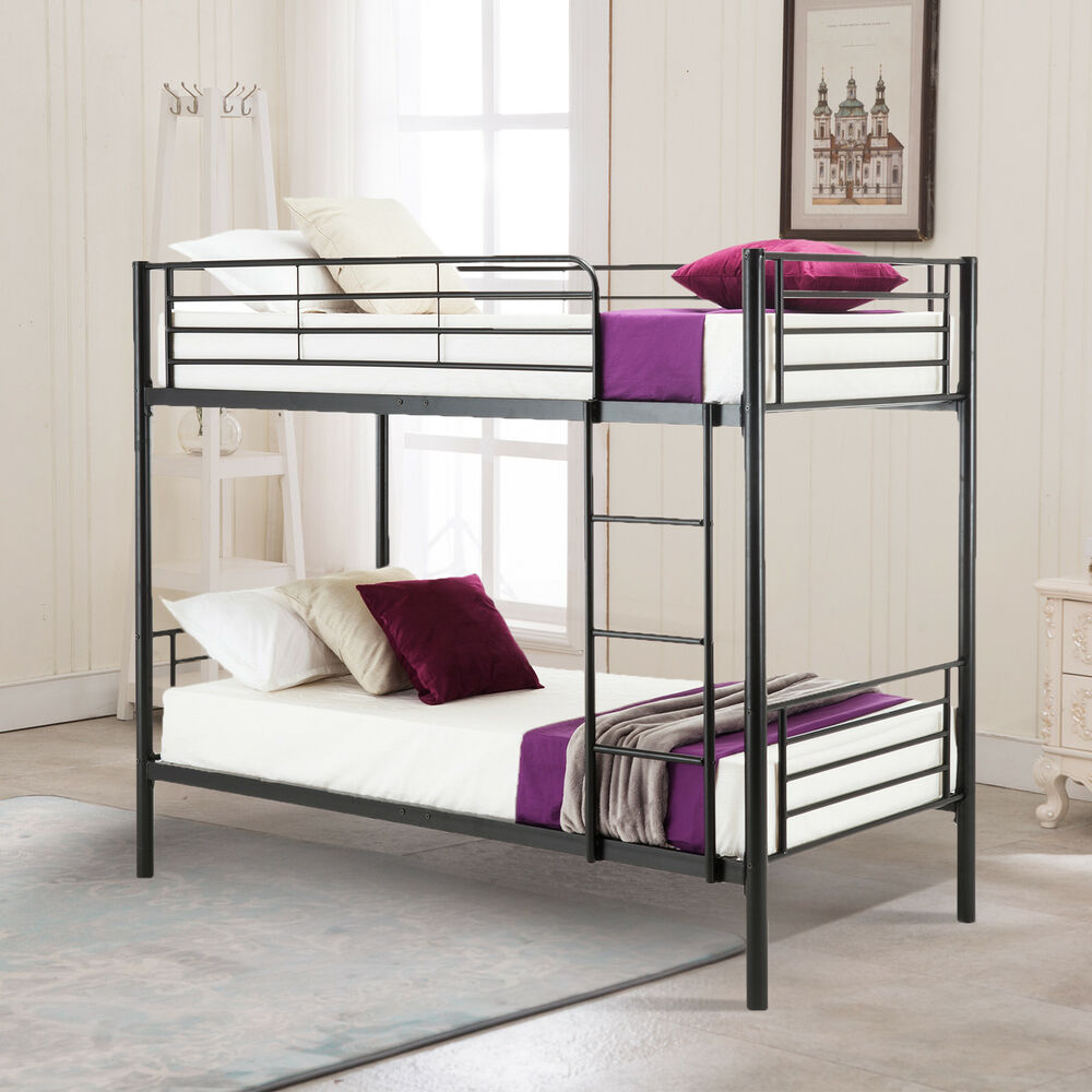Metal twin over bunk bed frame with ladder for children for Bunk bed frame with mattress