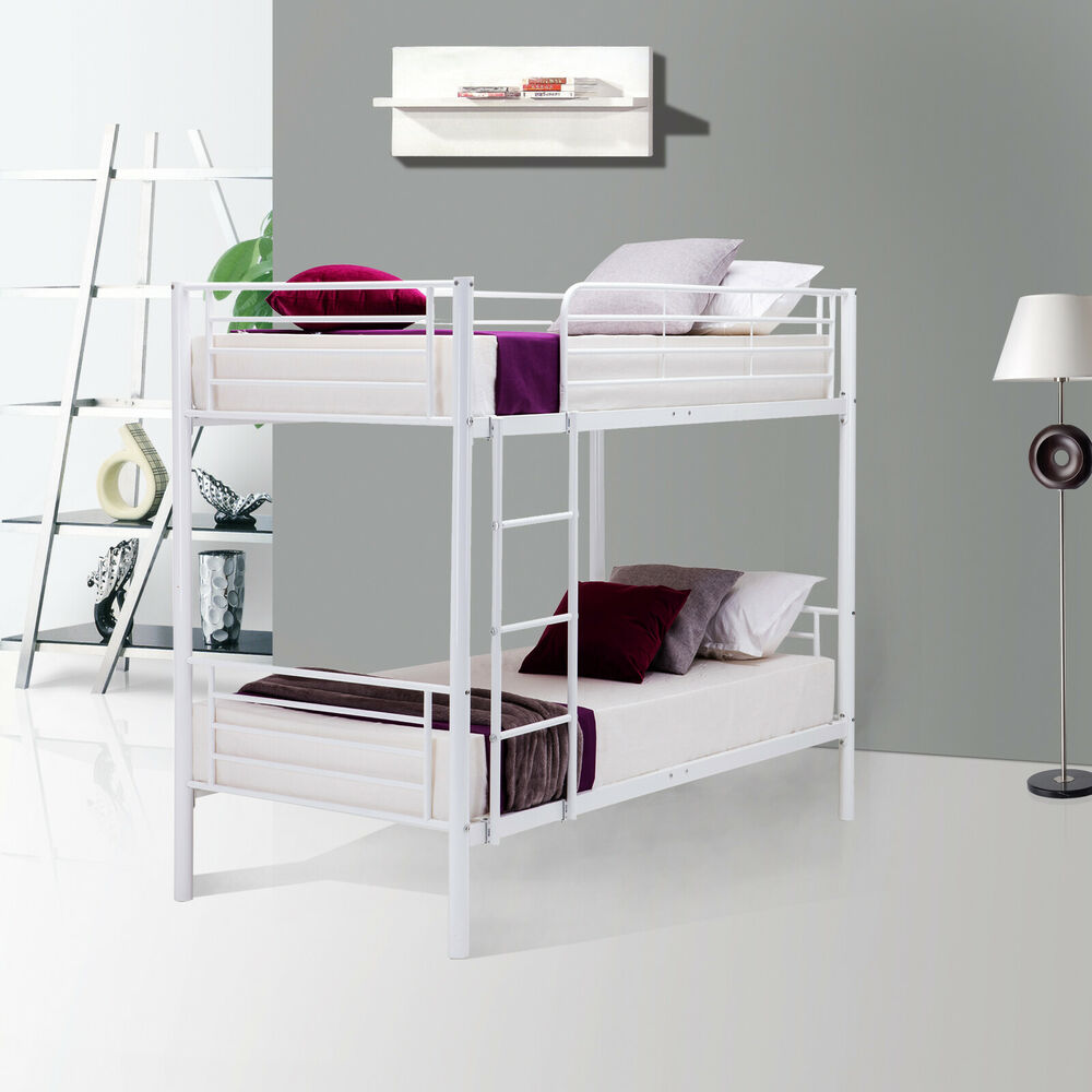 Metal twin bunk beds frame ladder for children adult dorm for Twin size childrens bed frames