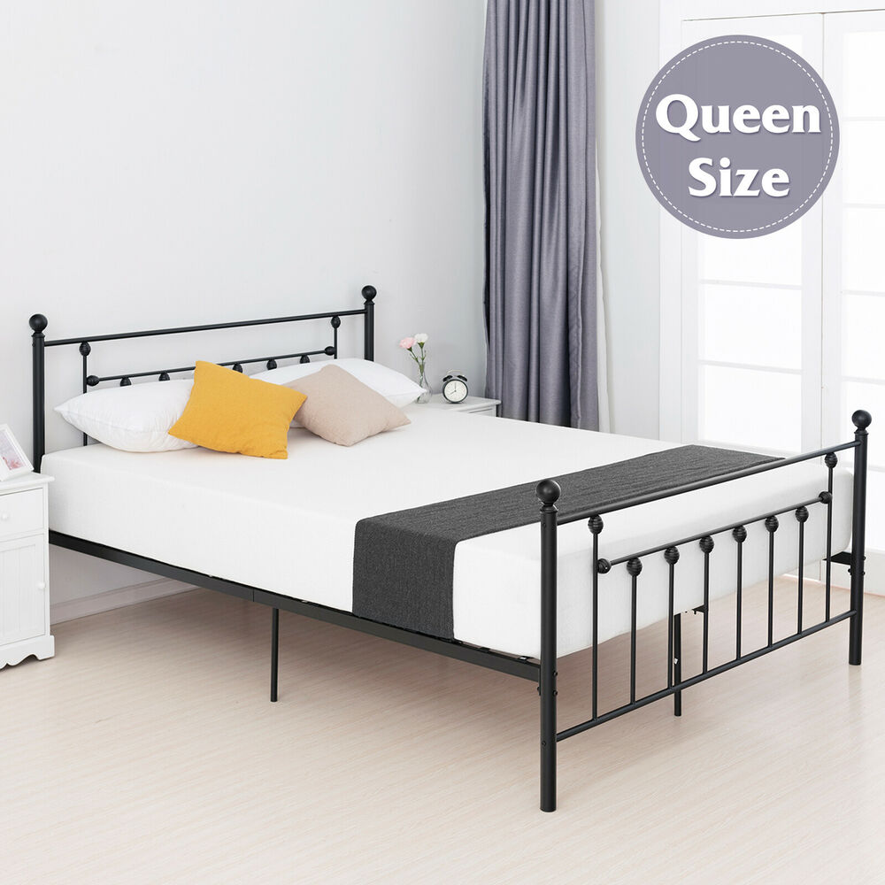 queen size metal bed frame platform with headboard footboard antique rustic 699967213211 ebay. Black Bedroom Furniture Sets. Home Design Ideas