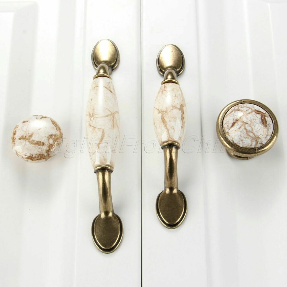 Retro Furniture Knobs Marble Ceramic Cupboards Cabinet