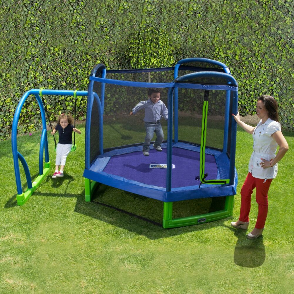 Swing Set Trampoline Outdoor Playground Play Swingset