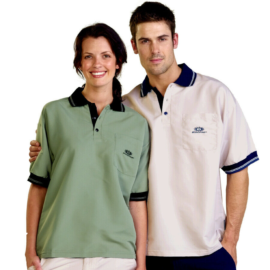 Adults Woven Polo Shirt Short Sleeve Uv Sun Protection Upf50