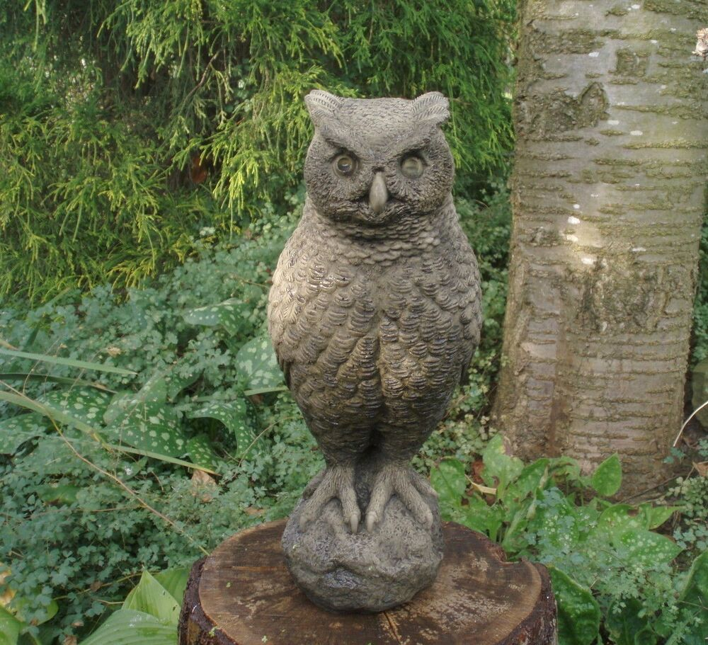 Granite Lawn Ornaments : Stone garden tall wise owl bird statue figure ornament ebay