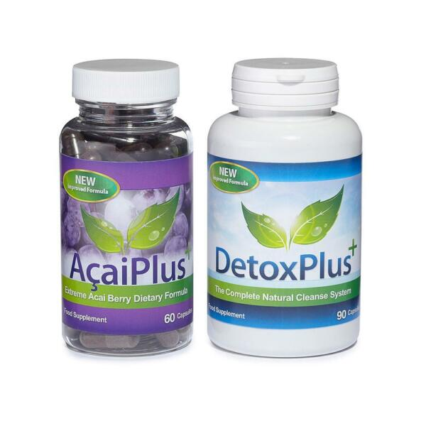 Acai Plus & Detox Plus Cleanse Diet Combo Weight Loss 1 Month Evolution Slimming
