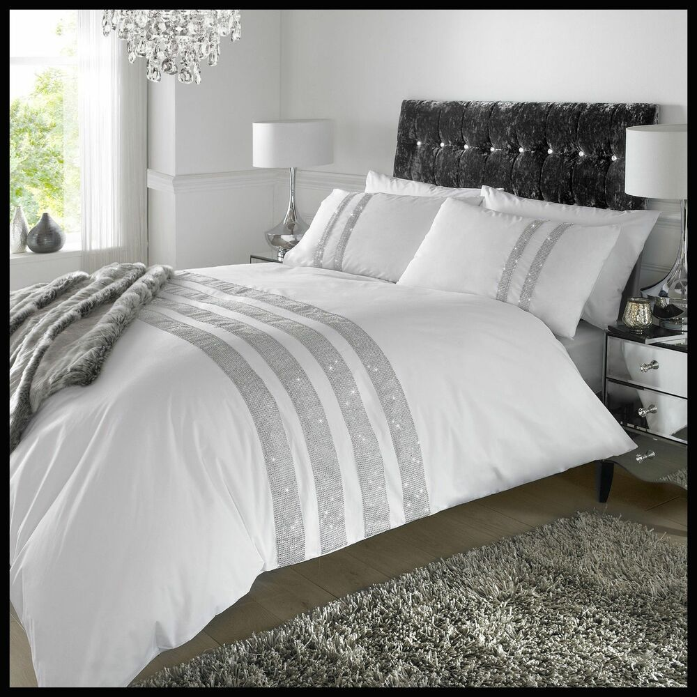 white silver stylish lace diamante sequin duvet cover luxury beautiful bedding ebay. Black Bedroom Furniture Sets. Home Design Ideas