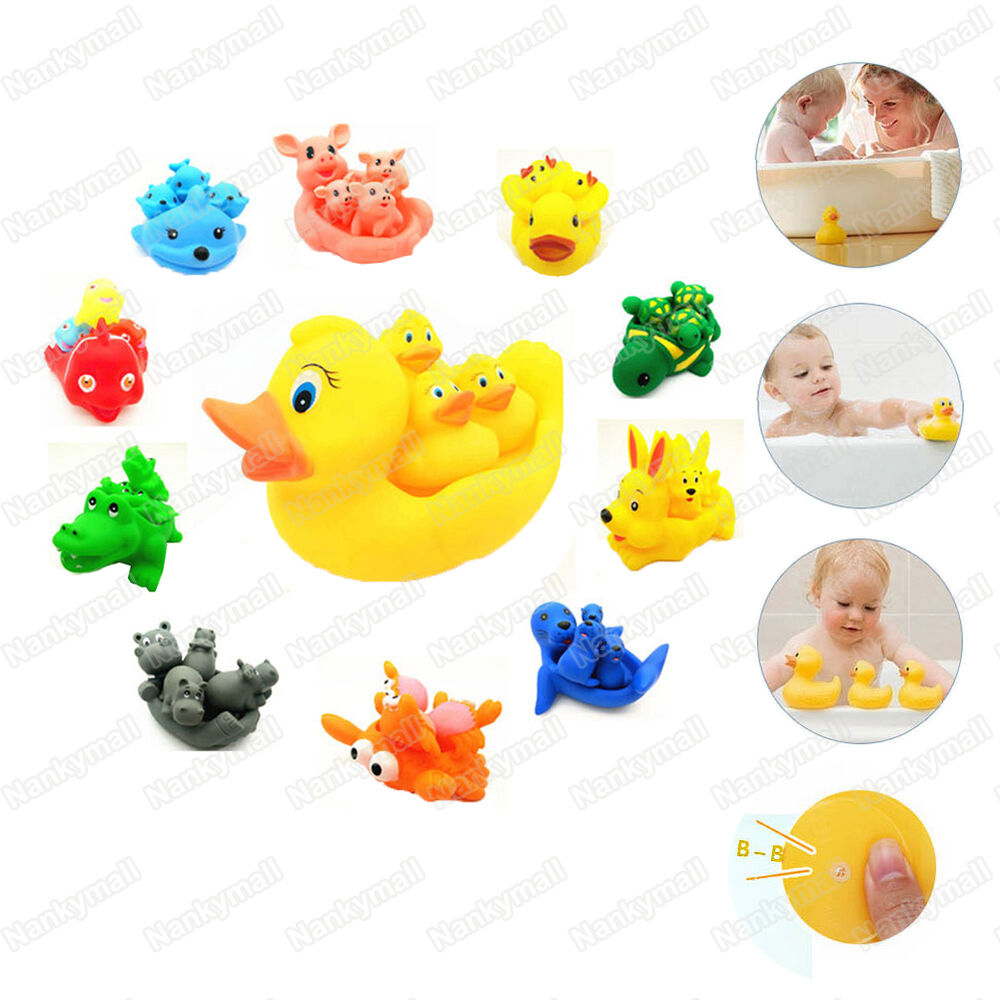 kids baby bath toys little rubber animals baby mammy bath tub float squeaky toys ebay. Black Bedroom Furniture Sets. Home Design Ideas