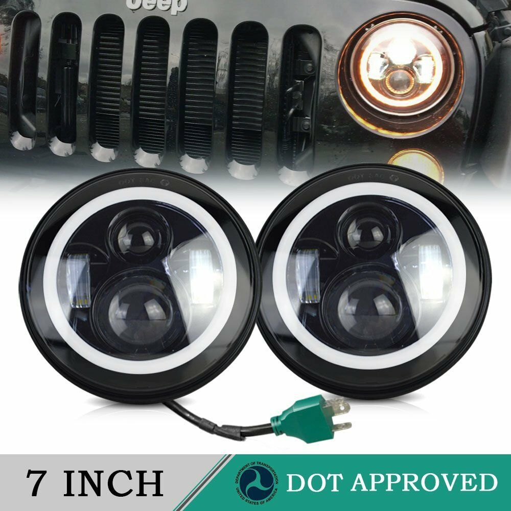 2x7 quot  inch round led headlights halo hi  lo turn drl for