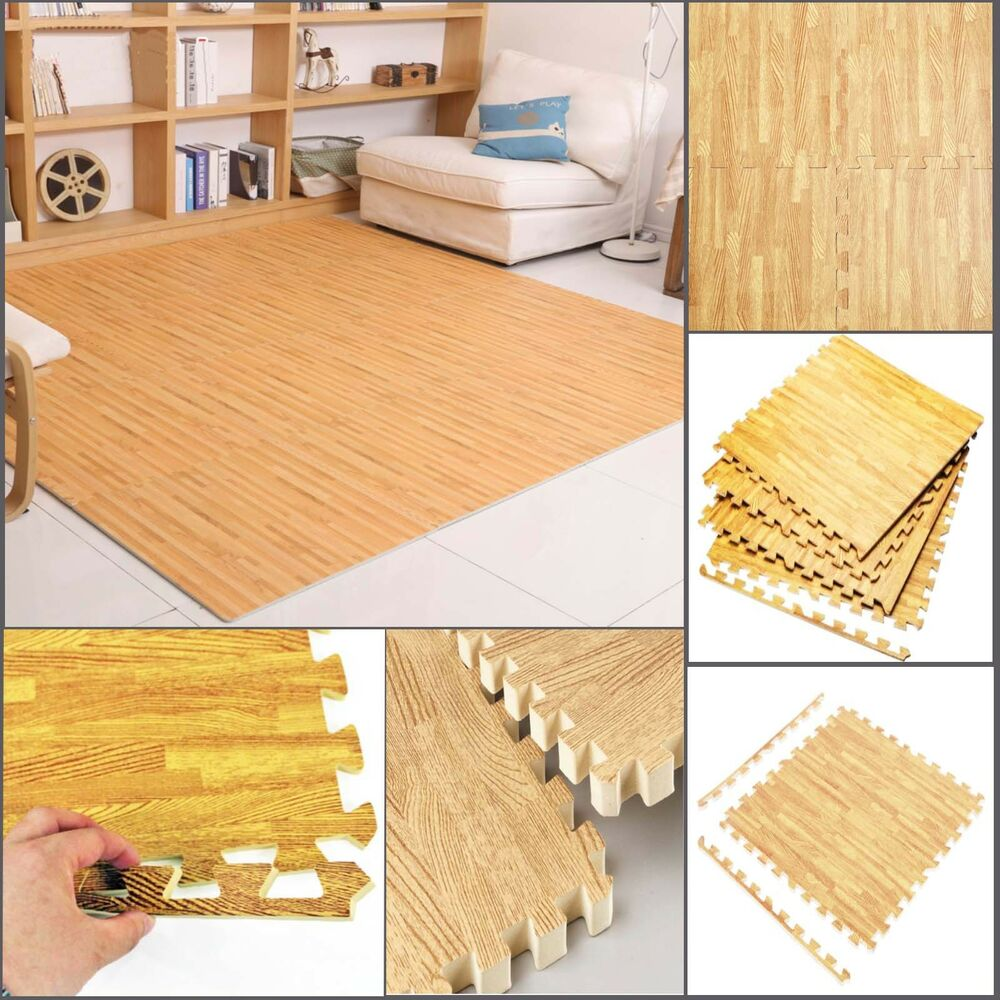 Eva Foam Floor Wood Effect Interlocking Gym Play Home