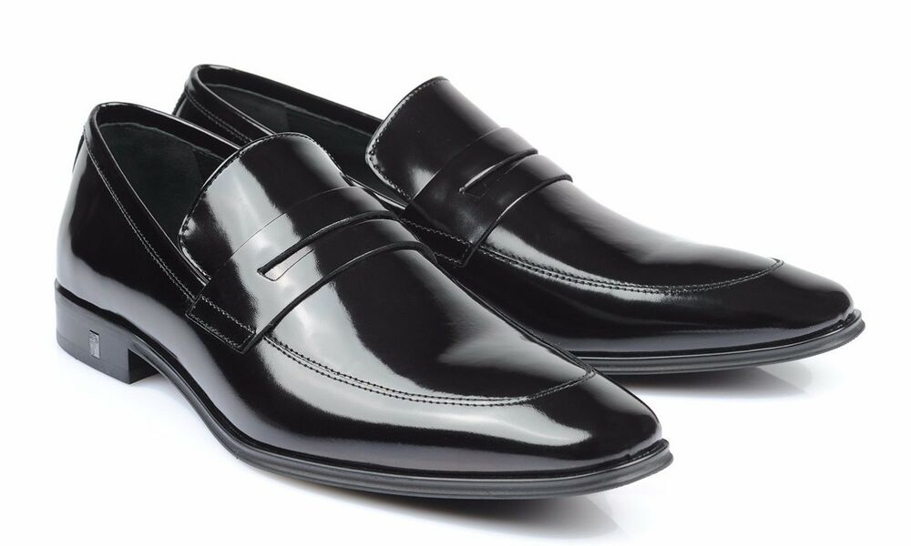 Versace Collection Men S Black Polished Leather Oxfords Shoes