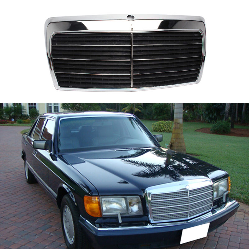 For mercedes benz class sel w126 1980 1991front hood black for Mercedes benz grills