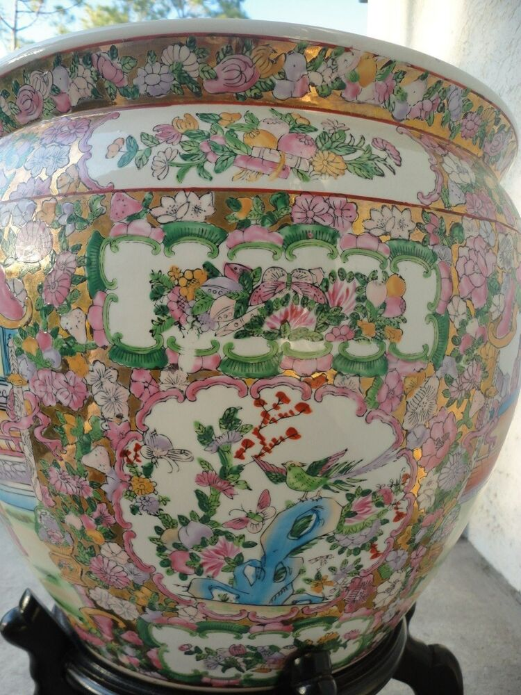 antique chinese large famille rose porcelain fish bowl