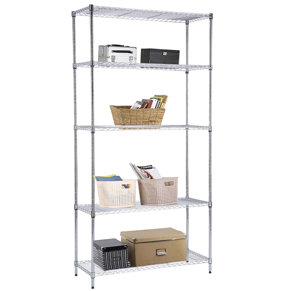 metal shelf rack 5 tier 73 quot x36 quot x14 quot heavy duty wire shelving steel rack 23277