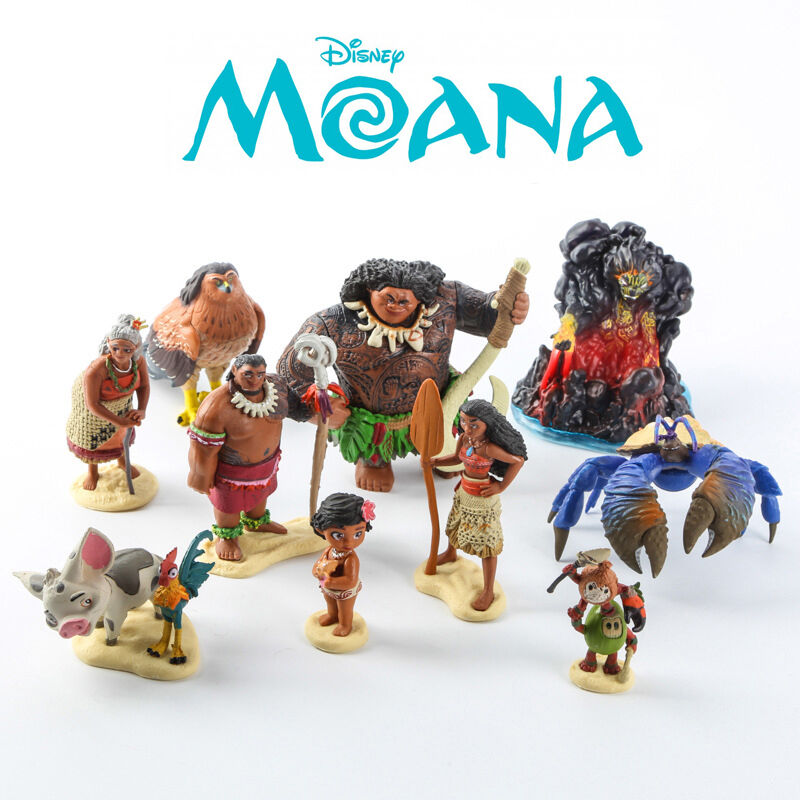 10 Pcs Disney Moana Action Figures Maui Pua Heihei Doll