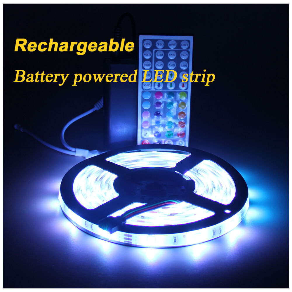 rechargeable battery powered led lights strip waterproof. Black Bedroom Furniture Sets. Home Design Ideas