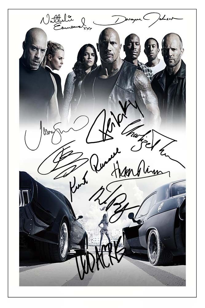 FAST   AND FURIOUS 8 CAST X10 SIGNED PHOTO PRINT AUTOGRAPH POSTER VIN DIESEL    eBay ca46fe9b95