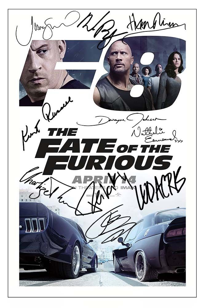 fate of the furious cast x10 signed photo print autograph
