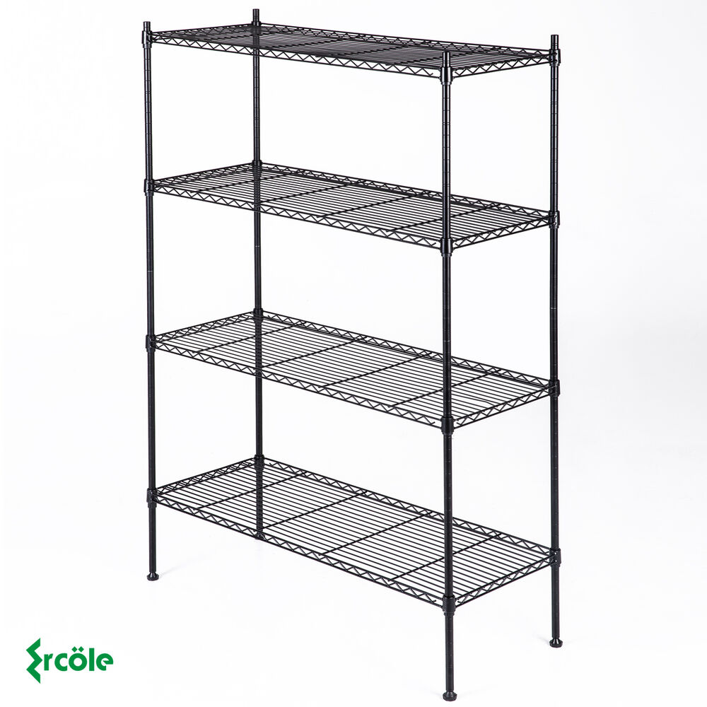 metal shelf rack adjustable 4 tier 55 quot x36 quot x14 quot layer wire shelving rack 23277