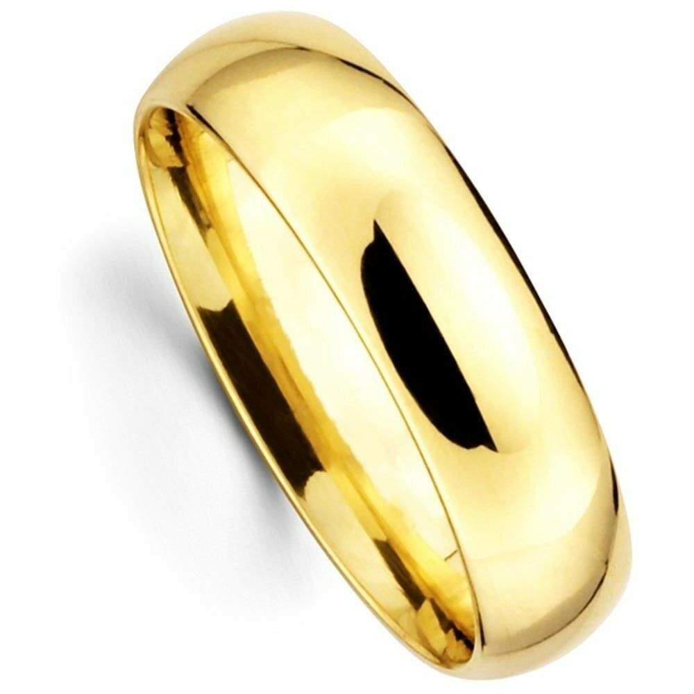 Men S Women S Solid 14k Yellow Gold Plain Wedding Ring