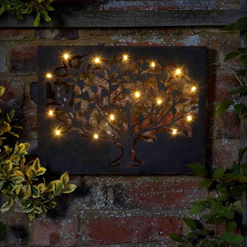 LED Tree Metal Indoor / Outdoor Metal Wall Art Light Timer
