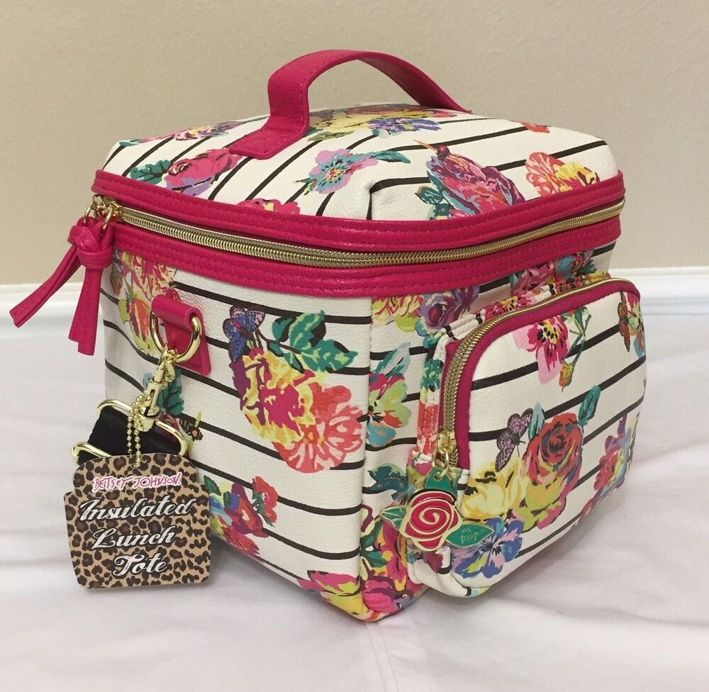 Betsey Johnson Pink Floral Stripes Cargo Lunch Tote