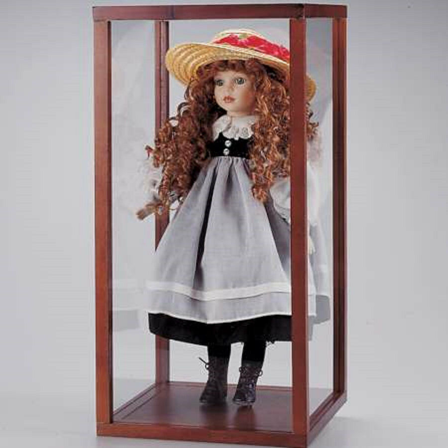 New In Box Wood Acrylic Doll Display Show Case 20 H X