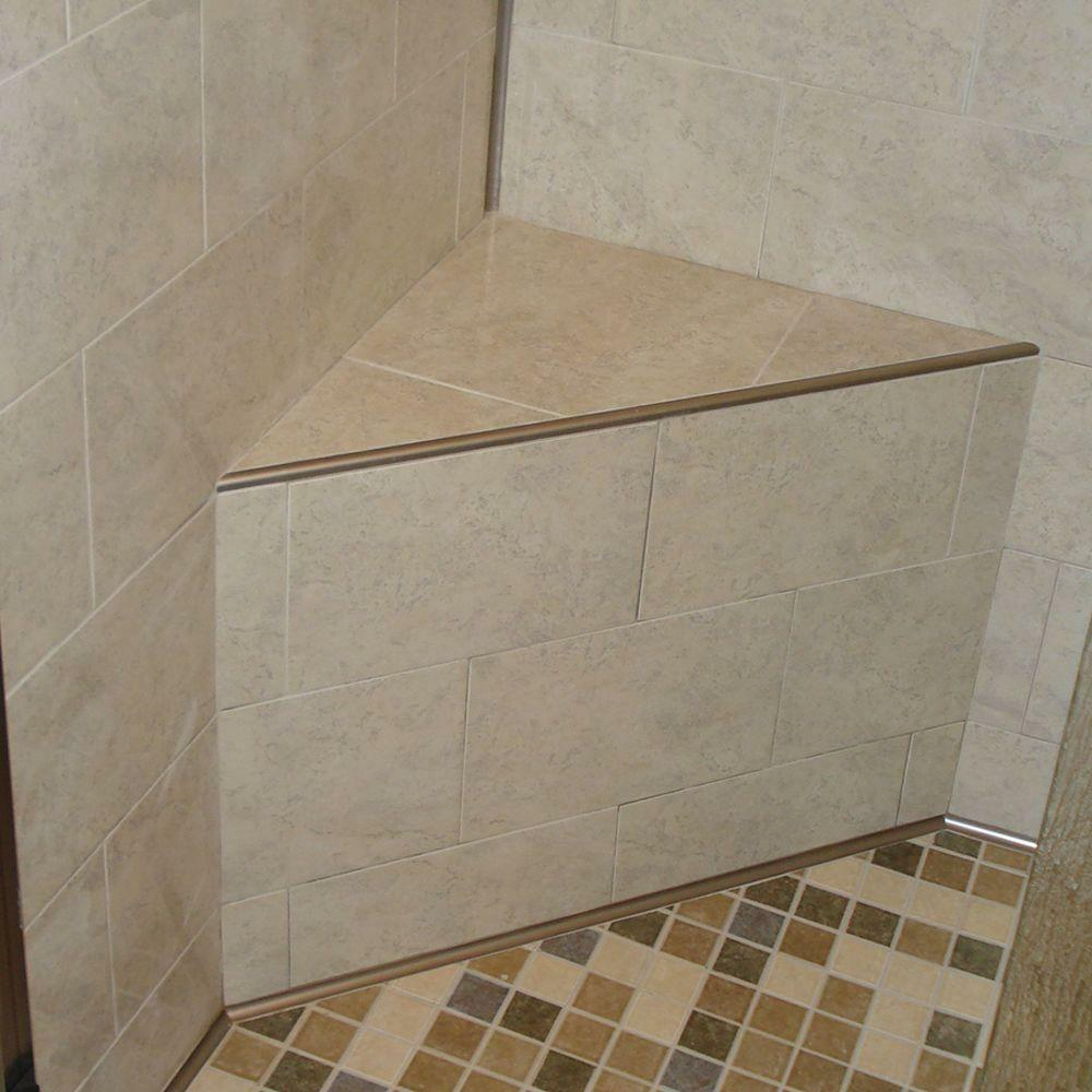 bathroom tile corner trim schluter rondec satin nickel anodized aluminum metal 16732