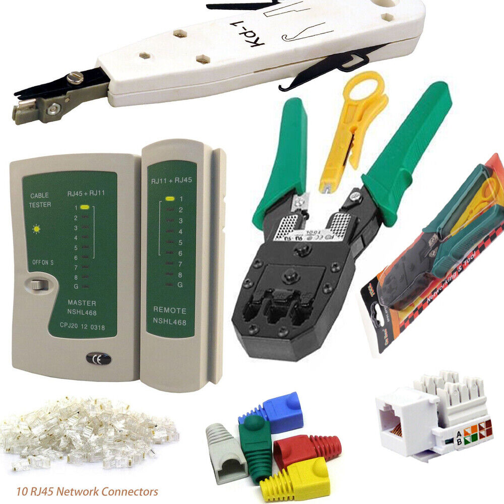 ethernet network kit rj45 lan cable tester crimping punch. Black Bedroom Furniture Sets. Home Design Ideas