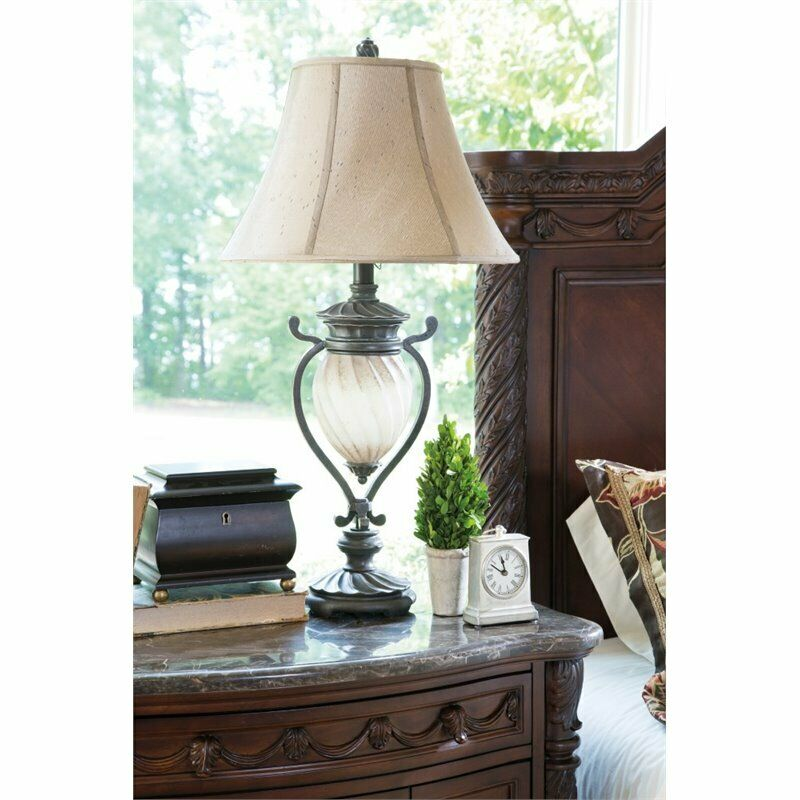 Ashley Gavivi Metal Table Lamp In Dark Brown Set Of 2