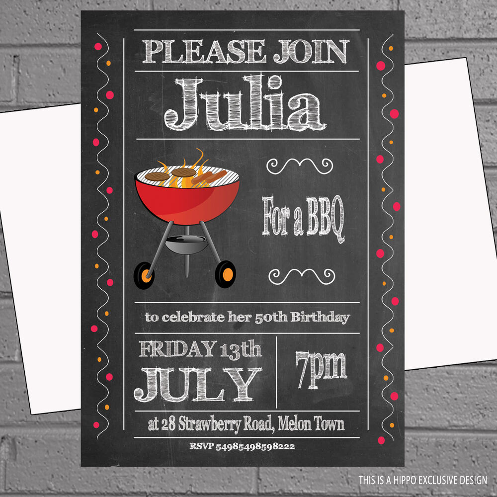 Details About Personalised BBQ Invites Birthday Party Invitations X 12 Env
