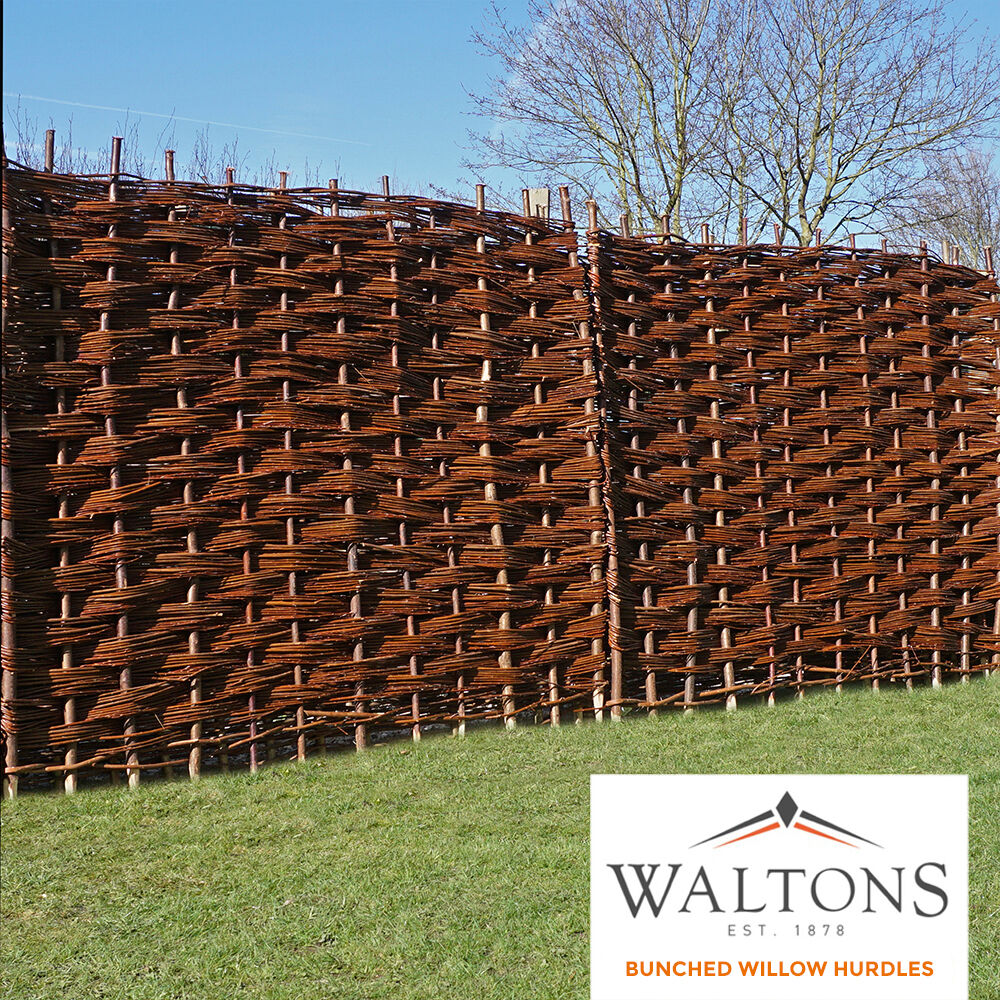 Wooden Bunched Willow Hurdle Woven Garden Fence Panel 6ft