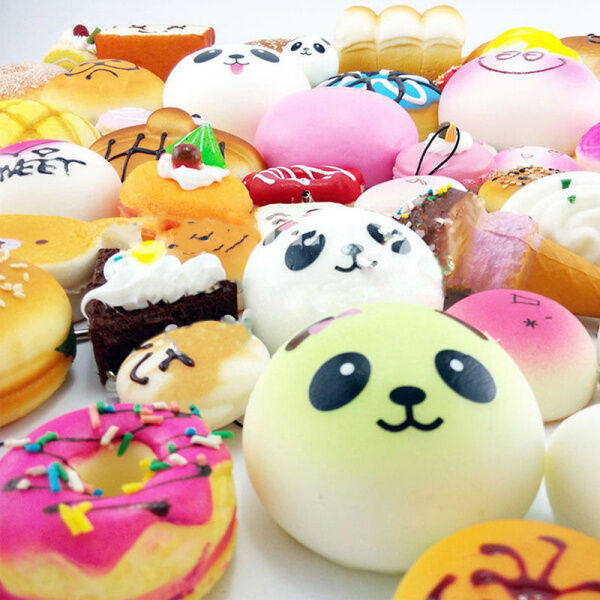 Squishy Donuts Kawaii : Lot 30 PCS Random Kawaii Squishies Bun Toast Donut Soft Bread Squishy Cat charm eBay