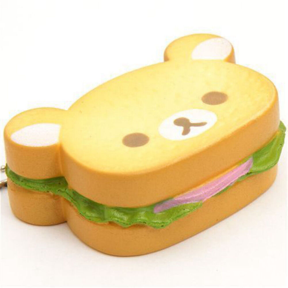Squishy Bread : Jumbo Rilakkuma Bear Squishy Hamburger Soft Bread Scented Straps Phone Charm eBay