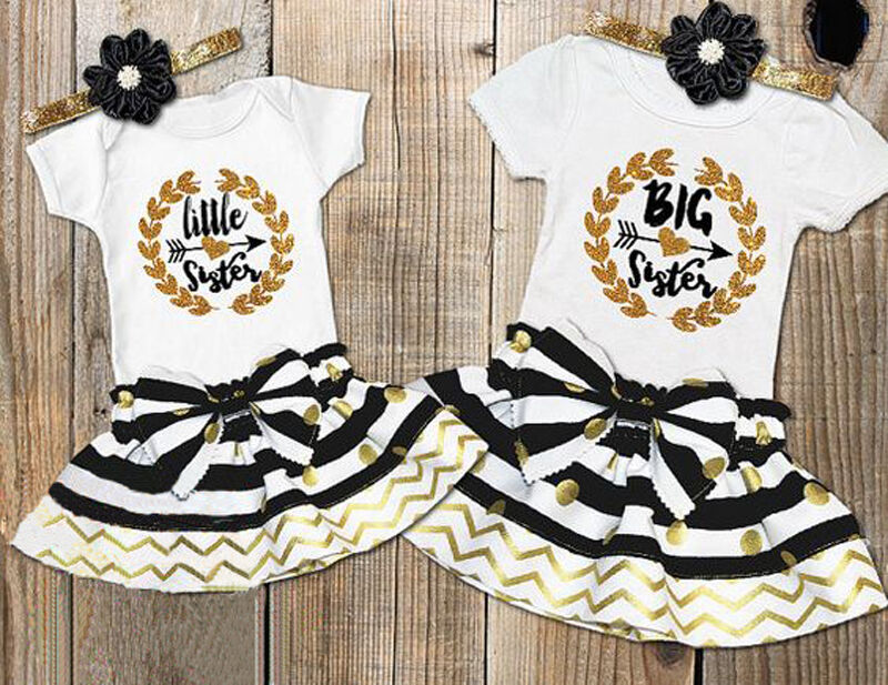 Infant Baby Girl Little Big Sister Matching Clothes Romper