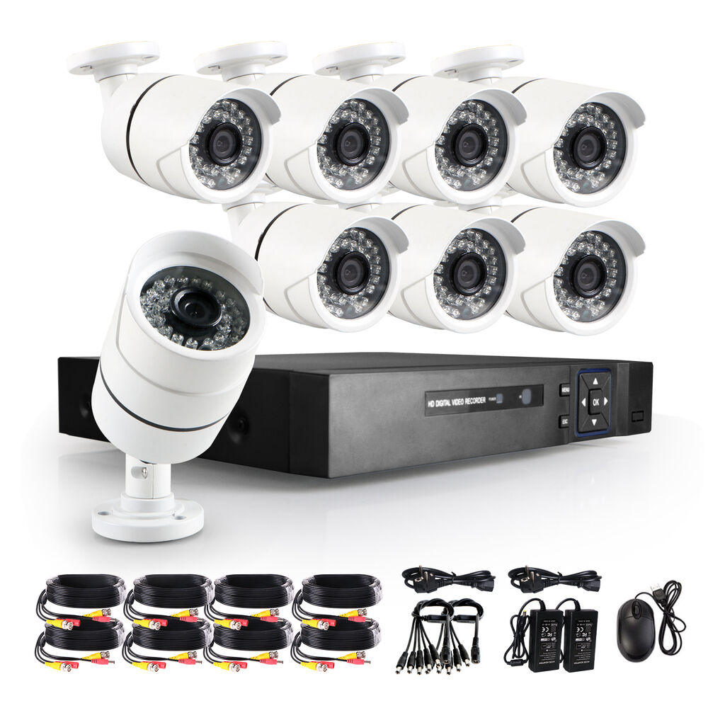 2500tvl wired home security camera system kit 8ch 1080p ahd cctv dvr ir cut ebay. Black Bedroom Furniture Sets. Home Design Ideas
