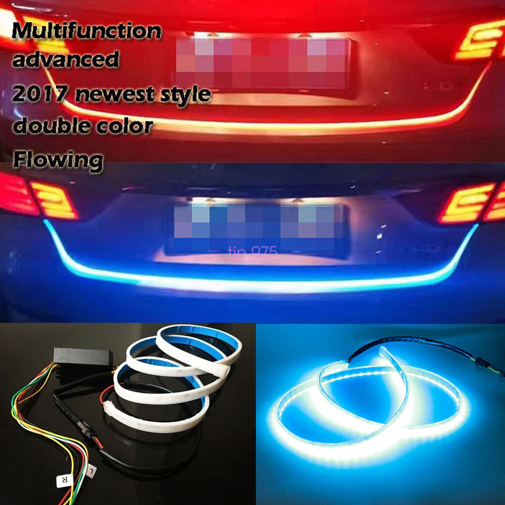 47 Dual Color Flow Type Car Flowing Led Strip Trunk Tailgate Light 1965 Ford F100 Tail Wiring Turn Signal 812345759631 Ebay