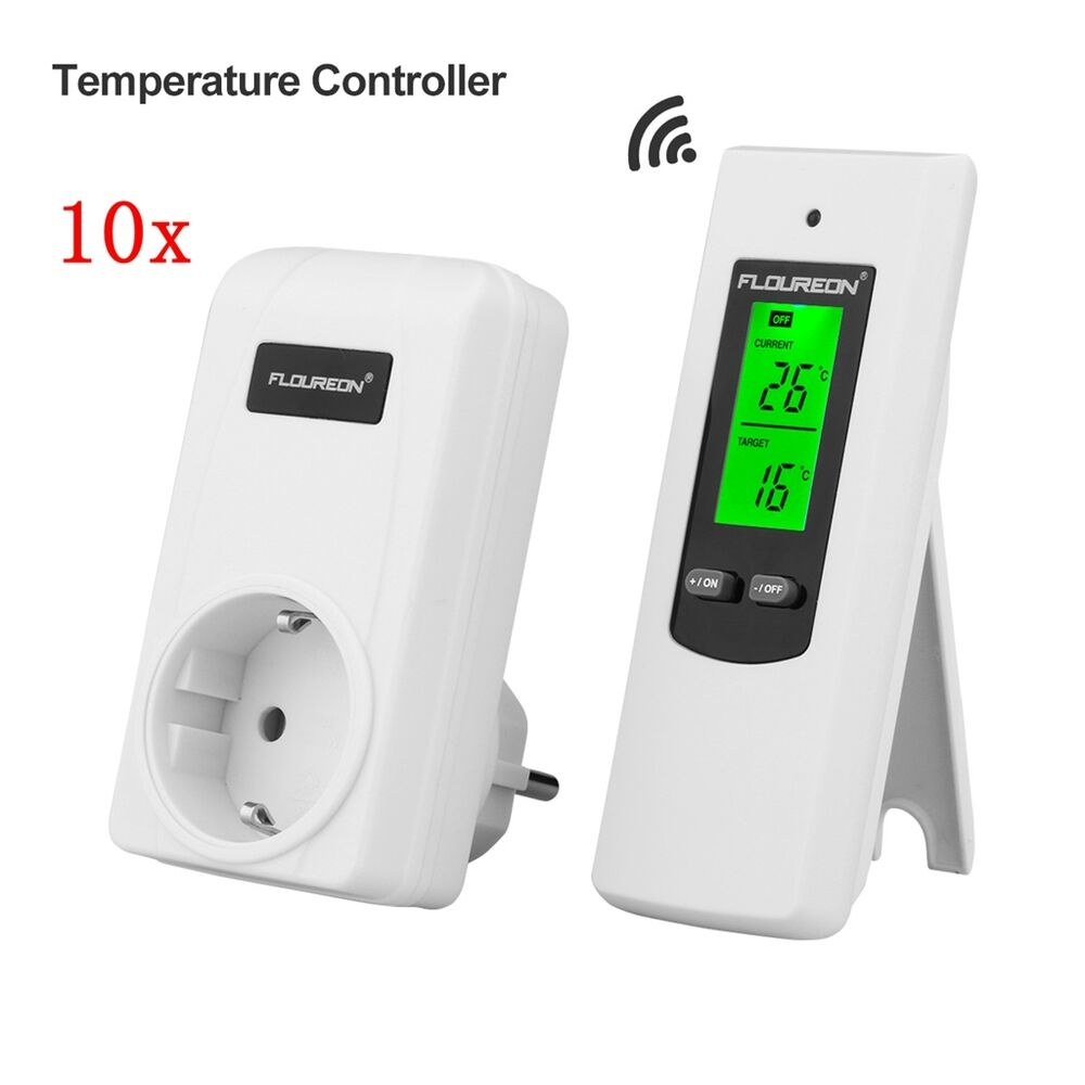 funk rf steckdosen thermostat lcd raumthermostat thermoschalter fernbedienung ebay. Black Bedroom Furniture Sets. Home Design Ideas