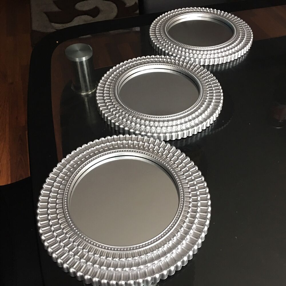 Set Of 3 Silver Moroccan Art Deco Round Wall Mirrors Wall