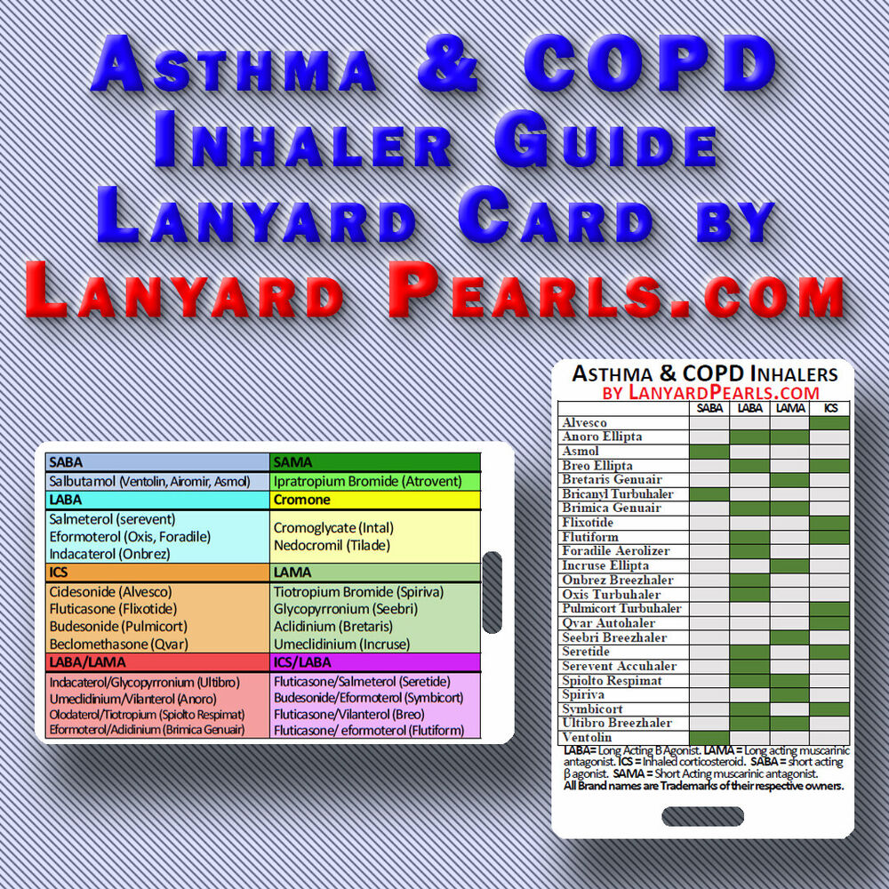 COPD and Asthma Inhaler Guide - PVC Lanyard Badge Card | eBay