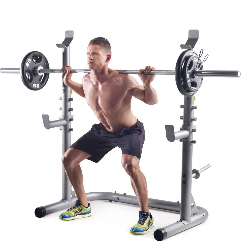 Golds Gym Workout Squat Rack Bench Home Training Power Weight Stand Lifting Ebay