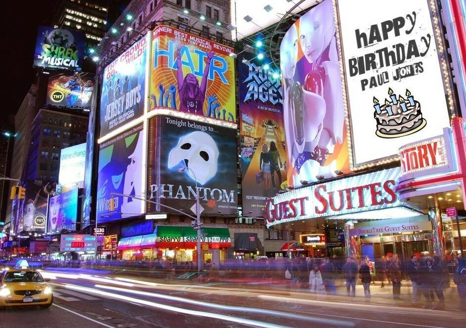Personalised New York Times Square Broadway Billboard Spoof Birthday Card
