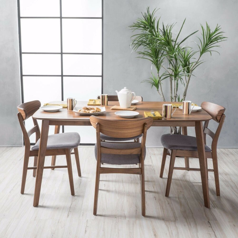 Dining Room Sets Wood: Helen Mid Century Fabric & Wood Finish 5 Piece Dining Set