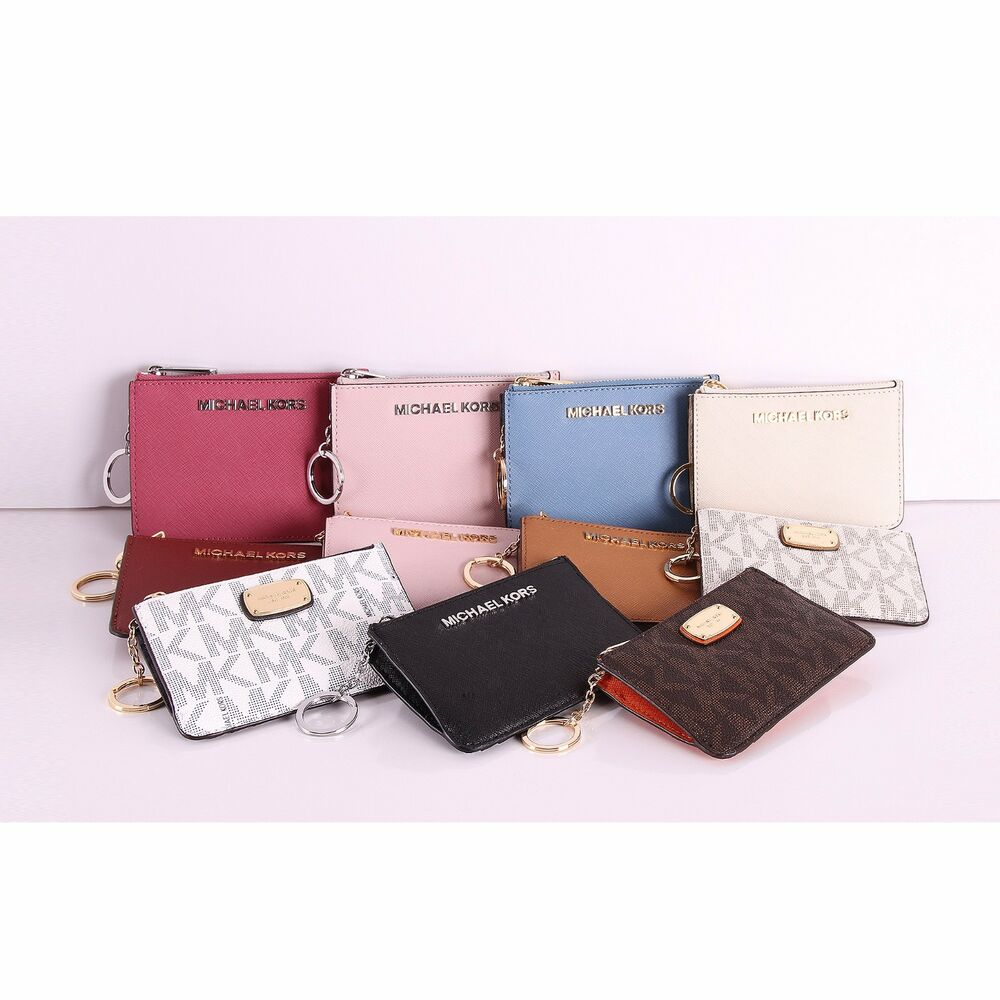 783d084f671b5 Details about NWT Michael Kors Jet Set Item Small Top Zip Coin Pouch w ID  Leather Key Ring