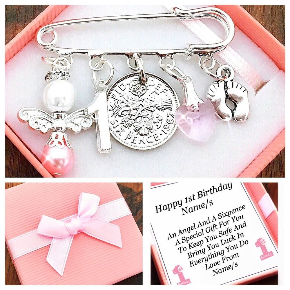 Details About LUCKY SIXPENCE FIRST 1ST BIRTHDAY GIFT GIRL BOY PERSONALISED IN LOVELY BOX
