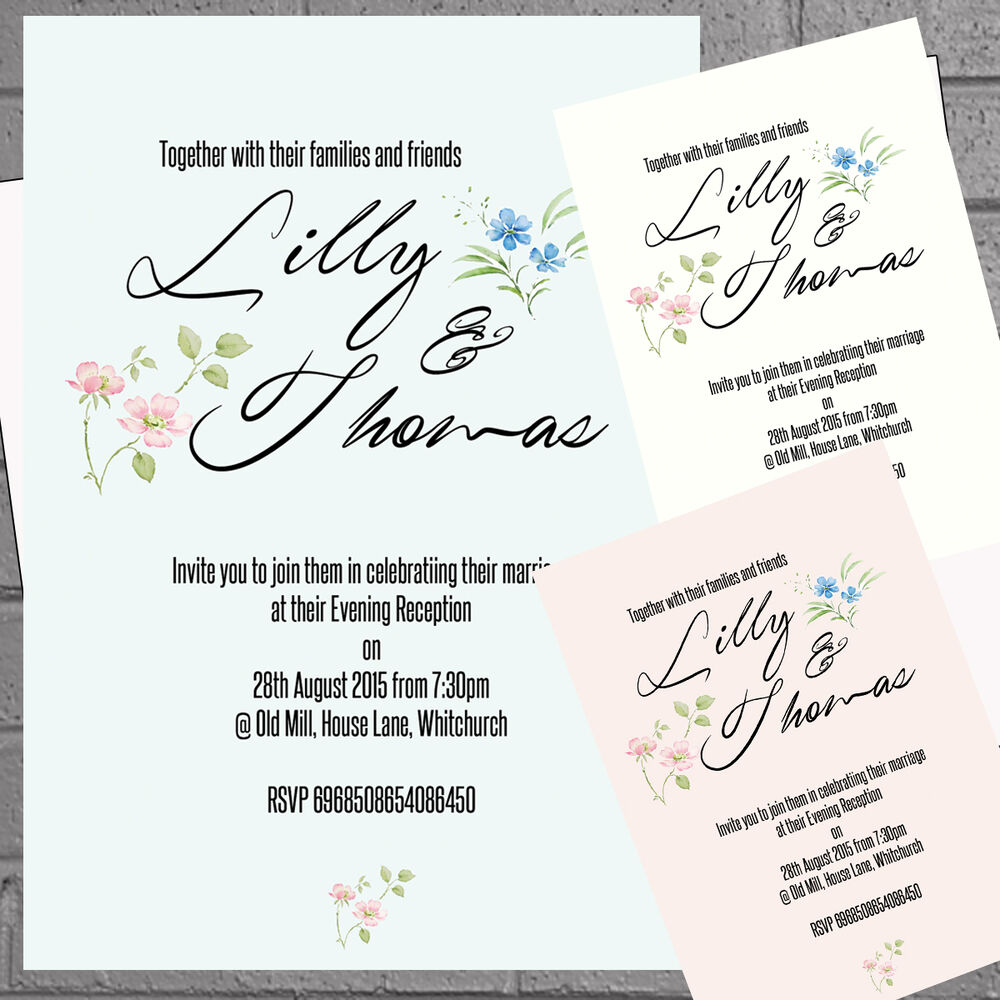 Personalised Blue Scroll Wedding Evening Day Reception Invites x 12 ...