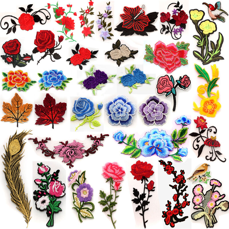 New embroidered flower applique iron on sew patch
