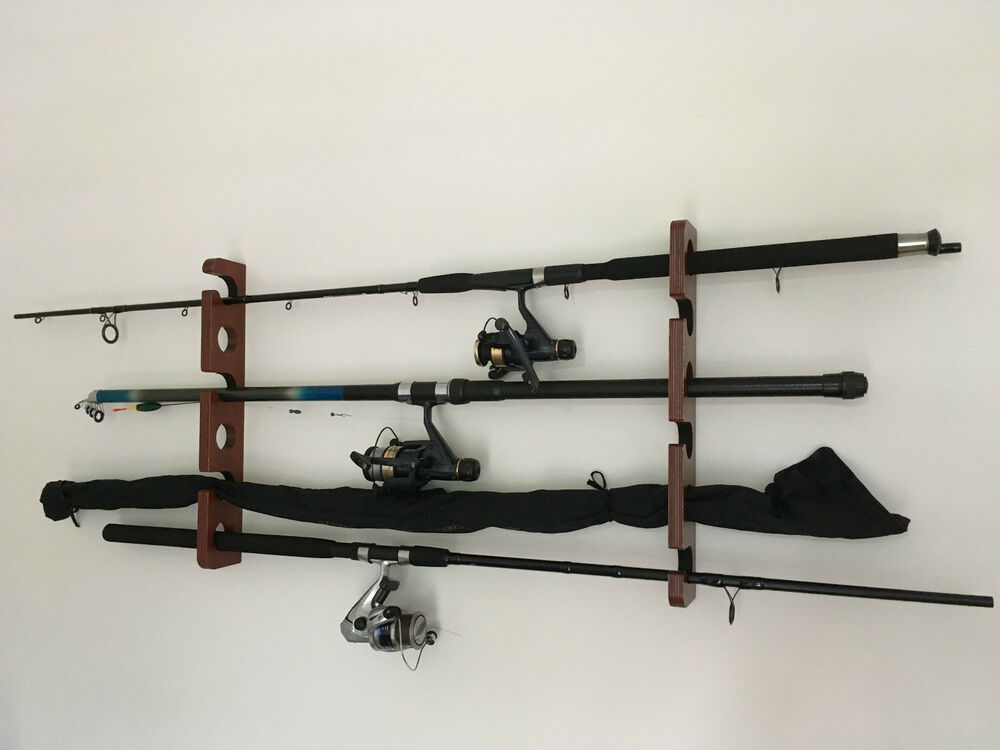 Wooden fishing rod reel storage rack wall mount 6 rods for Wall fishing rod holder