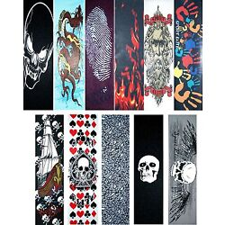 Skateboard Graphics Grip tape 9'' x 33'' Multiple Designs to Choose